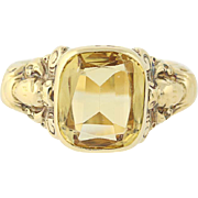 Victorian Citrine Ring - 18k Yellow Gold Antique Cushion Brilliant 2.75ct