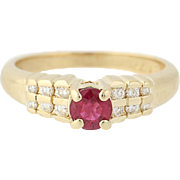 Ruby & Diamond Ring - 14k Yellow Gold Round Brilliant Cut .58ctw