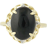 Onyx Ring - 10k Yellow Gold Diamond Accents Women's Size 7 1/4