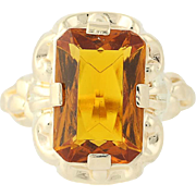 Vintage Orange Glass Ring - 10k Yellow Gold Simulated Citrine Chunky Solitaire