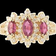 Ruby & Diamond Ring - 14k Yellow Gold Triple Halo Marquise Brilliant 1.27ctw
