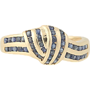 Blue Sapphire Knot Ring - 14k Yellow Gold Women's 0.60ctw