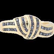 Blue Sapphire Knot Ring - 14k Yellow Gold Women's 0.60ctw