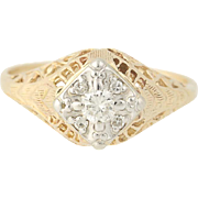 Vintage Diamond Ring - 14k Yellow Gold Size 6 1/2 Round Brilliant .15ctw