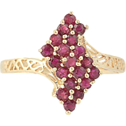 Chunky Ruby Cluster Ring - 14k Yellow Gold Crossover Openwork 0.70ctw