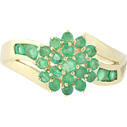 Emerald Cluster Bypass Ring - 14k Yellow Gold Floral Round Brilliant .90ctw