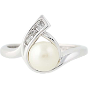 Cultured Pearl Wrap Ring - 10k White Gold Diamond Accents Women's 6.8mm