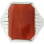 Art Deco Carnelian Ring - 14k White Gold Vintage Men's Size 10 1/4