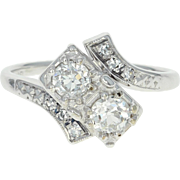 Art Deco Jabel Diamond Bypass Ring - 18k White Gold Vintage European Cut .63ctw