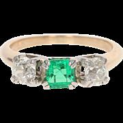 Art Deco Emerald & Diamond Ring - 14k Yellow Gold Size 5 1/4 Vintage 1.31ctw