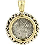 Ancient Roman Coin Pendant - 18k Gold Caracalla Coin SilverCollectible