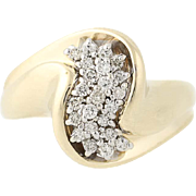 Diamond Cluster Crossover Cocktail Ring - 10k Yellow Gold Women's 0.24ctw