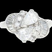 Retro Diamond Bypass Ring - Platinum Vintage Size 5 Pear Cut .78ctw
