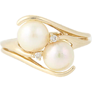 Cultured Pearl & Diamond Ring - 14k Yellow Gold Size 6 Bypass 6.7mm