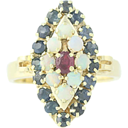 Ruby, Opal, & Sapphire Ring - 14k Yellow Gold Cocktail Halo 1.60ctw