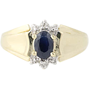 Blue Sapphire Ring - 10k Yellow Gold Diamond Accents 0.50ct