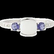 Opal Iolites & Diamonds Ring - 10k White Gold Round Cut 0.68ctw