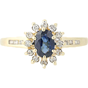 Sapphire & Diamond Halo Ring - 14k Yellow Gold Oval Brilliant .73ctw