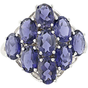 Purple Blue Iolite Cluster Ring - 10k White Gold Women's 3.50ctw