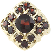 Garnet Halo Ring - 10k Yellow Gold Size 6 Women's 3.00ctw