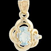 Aquamarine & Diamond Knot Pendant - 14k Yellow Gold Women's Birthstone 0.46ctw