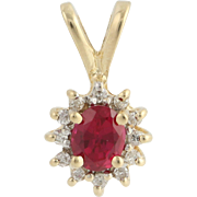 Synthetic Ruby & Diamond Halo Pendant - 14k Yellow Gold Women's Birthstone 0.58