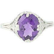 Vintage Amethyst Ring - 14k White Gold Filigree Oval Solitaire 1.75ct