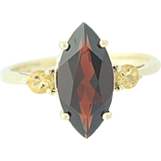 Garnet & Citrine Ring - 10k Yellow Gold Marquise Solitaire 2.60ctw