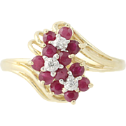 Ruby Flower Cluster Ring w/ Diamond Accents - 10k Yellow Gold 0.51ctw