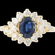 Sapphire & Diamond Halo Ring - 14k Yellow Gold Bypass Oval Brilliant 2.05ctw