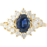 Sapphire & Diamond Halo Ring - 14k Yellow Gold Bypass Oval Brilliant 2.05ctw