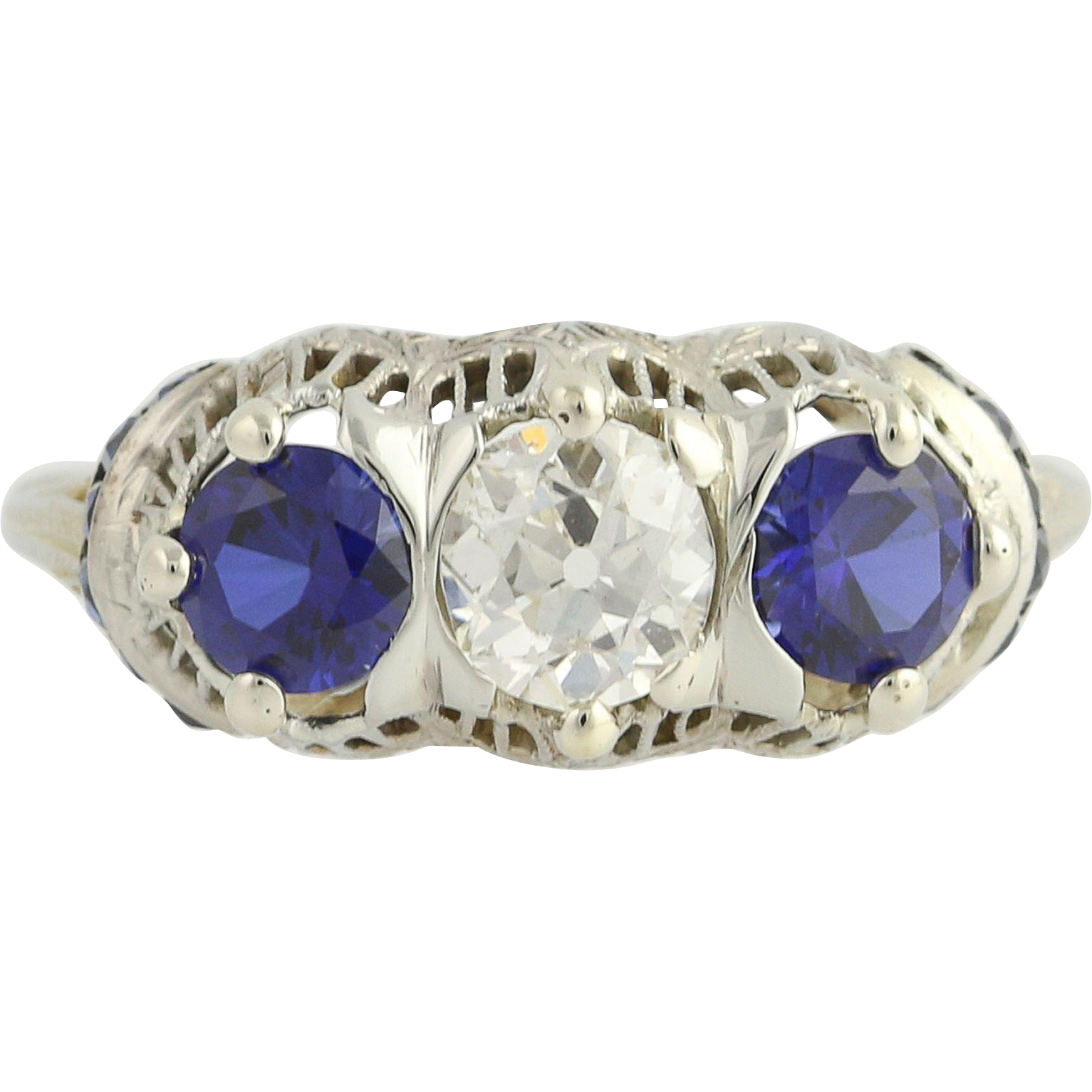 Art Deco Diamond & Synthetic Sapphire Ring - 18k White Gold Vintage 2.64ctw
