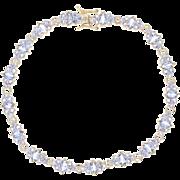 "Tanzanite Link Bracelet 7 1/4"" - 14k Yellow Gold Marquise Brilliant 4.50ctw"