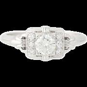 Vintage Granat Bros. Diamond Engagement Ring - 18k Gold Round Brilliant .41ctw