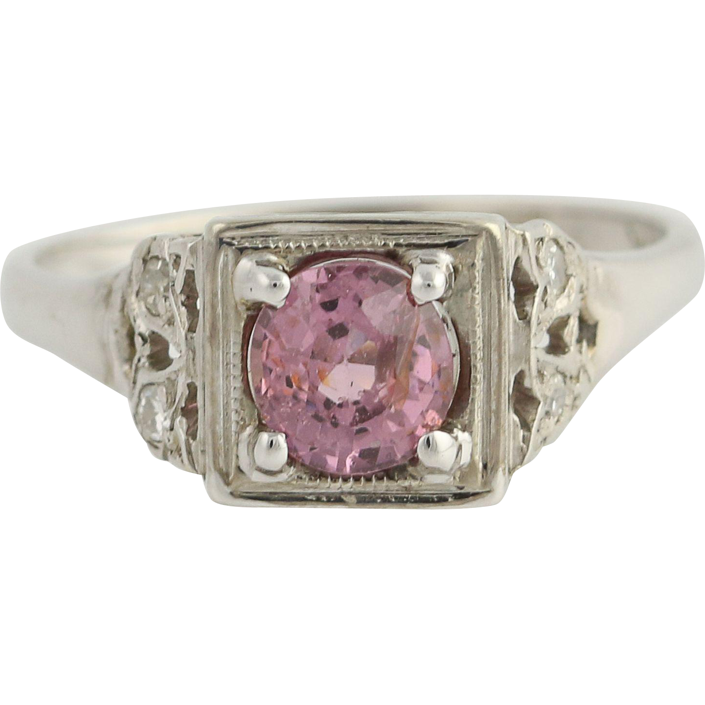 Vintage Pink Spinel & Diamond Ring - 14k White Gold Women's .75ctw