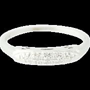 Vintage Diamond Accented Wedding Band - 14k White Gold Ring Women's