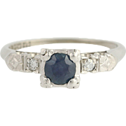 Vintage Sapphire & Diamond Ring - 900 Platinum September Engagement .40ctw