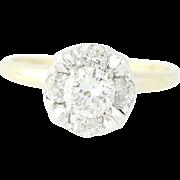 Vintage Diamond Engagement Ring - 14k Yellow Gold Illusion Set Round Cut 1.01ctw