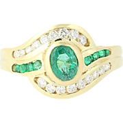 Emerald & Diamond Bypass Ring - 18k Yellow Gold Oval Brilliant .96ctw