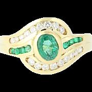 Emerald & Diamond Bypass Ring - 18k Yellow Gold Oval Brilliant .96ctw