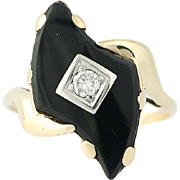 Vintage Black Onyx & Diamond Ring -10k Yellow Gold Bypass Baroque Cabochon .11ct