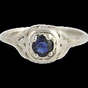Art Deco Sapphire Solitaire Ring - 18k Gold Vintage Love Birds September .52ct