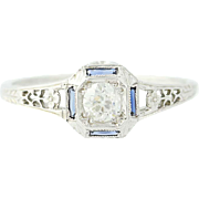 Art Deco Diamond & Syn. Sapphire Ring 18k Gold Vintage Engagement European .32ct