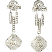 Art Deco Diamond Earrings - 18k Gold Pierced Screw-On Backs Vintage Mine .30ctw