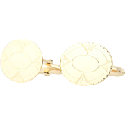 Vintage Oval Cufflinks - 10k Yellow Gold Etched Design Men's Gift