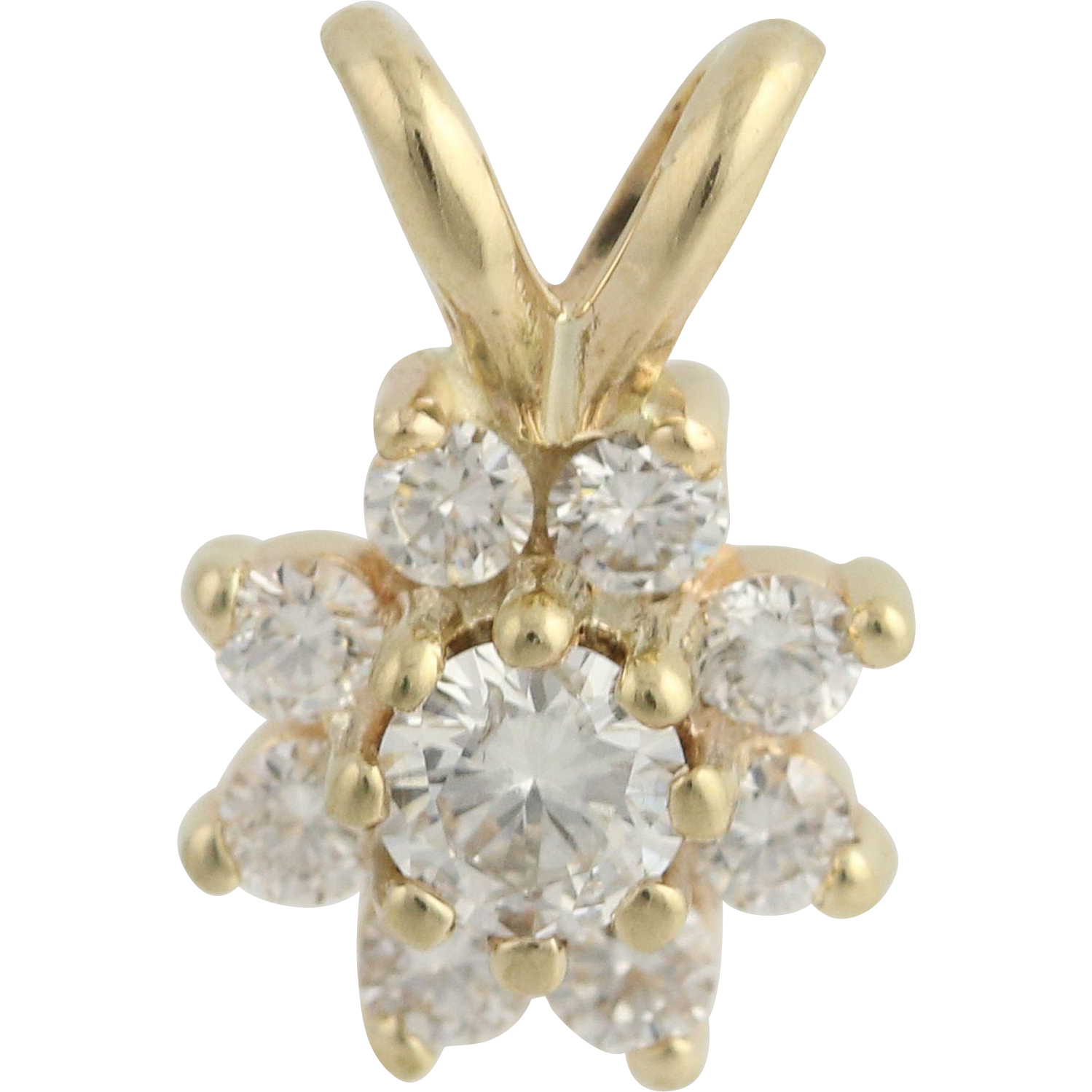 Diamond Flower Pendant - 14k Yellow Gold Women's Floral 0.28ctw