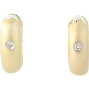 Small Hoop Huggie Earrings - 14k Yellow Gold Pierced Diamond Accent Hinged
