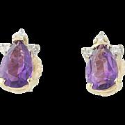 Amethyst & Diamond Stud Earrings -14k Yellow Gold Screw-On Backs Pierced 1.55ctw