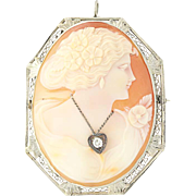 Art Deco Carved Shell Cameo Brooch / Pendant - 14k White Gold Diamond Vintage