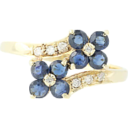 Floral Sapphire & Diamond Bypass Ring - 14k Yellow Gold Round Brilliant .80ctw